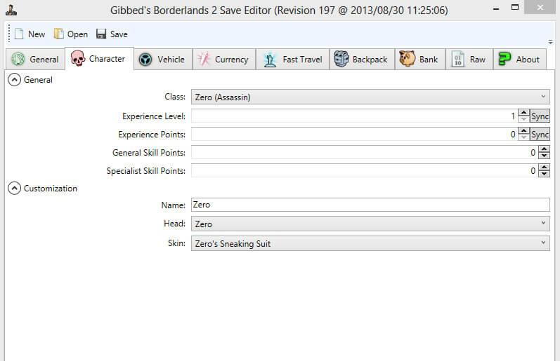 Gibbed Save Editor