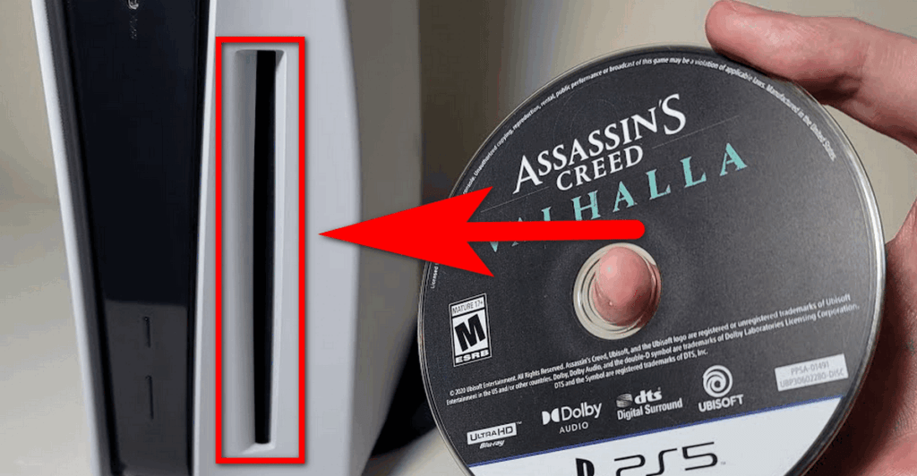 how to insert disk on ps5